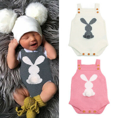 Newborn Baby Boys Girls Easter Bunny Knit Wool Romper Bodysuit Jumpsuit Outfits • 7.99£