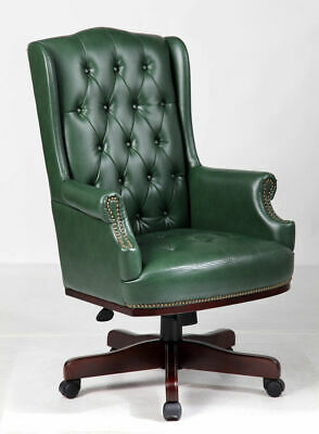 £275 • Buy Antique Green Chesterfield High Back Desk Office Chair Bonded Leather Captains D