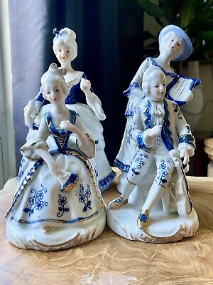 $ CDN73.78 • Buy A Set Of Beautiful Vintage Figurines/Ornaments In Blue & White Porcelain