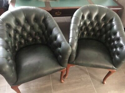 AU1595 • Buy Chesterfield Full Genuine Leather Executive Desk Office Library Chairs (Pair)