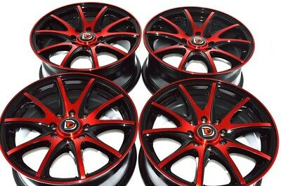 $479 • Buy 4 New DDR ST15 15x6.5 4x100/114.3 40mm Black/Red 15  Wheels Rims