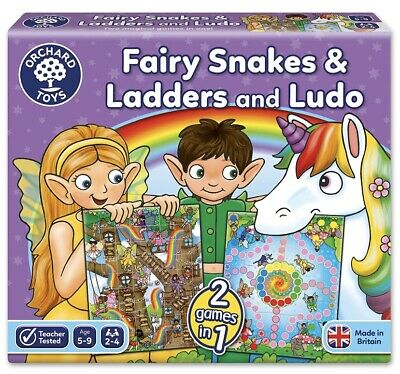 Orchard Toys Fairy Snakes & Ladders And Ludo Game, Educational Family Game- 2in1 • 6£