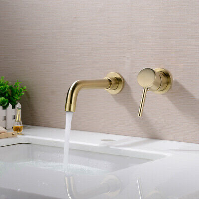 £45.28 • Buy Brass Wall Mounted Swivel Spout Sink Faucet Basin Mixer Taps Brushed Gold UK