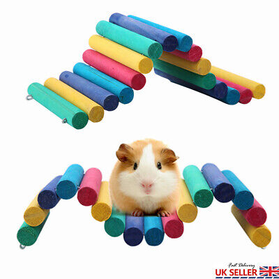 Hamster Toy Wooden Bridge House Ladder Gerbil Turtle Mice Rodent Chew Toy Gift • 7.95£