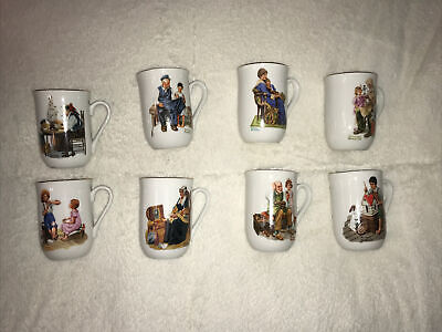 $ CDN25.36 • Buy New In Box ~ Norman Rockwell Coffee Cups Mugs Set Of 8 - 1982 Museum Collection