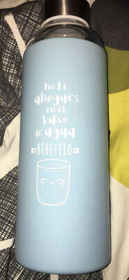 Blue Water Bottle Reusable Glass With Protective Cover BPA Free Eco Friendly New • 8£