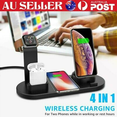 AU23.89 • Buy Wireless Charging Station Dock 4in1 Charger Stand For AirPods Apple Watch IPhone