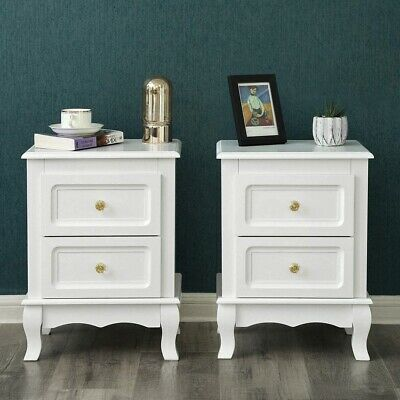 £86.75 • Buy Pair Bedside Tables White French Country Storage Drawers Glass Knobs Set Of 2