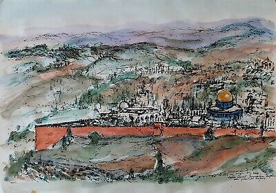 $ CDN212.30 • Buy ESTHER LURIE (1913-1998), Ink-Watercolor On Paper, Old Jerusalem, Signed, 1971