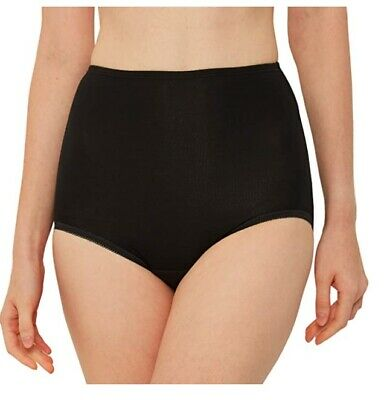 3 Pairs Ladies Black 100% Cotton Full Briefs Knickers Pants Size 10-20 Maxi Mama • 4.99£