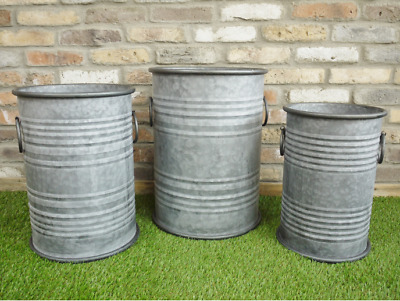 Large Round Galvanised Ribbed Decorative Metal Planter Plant Flower Pot Garden D • 23.95£