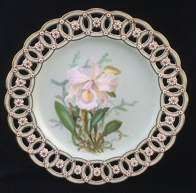 Antique Minton Porcelain Reticulated Plate Cattleya Warscewiczii Orchid  • 88.37£