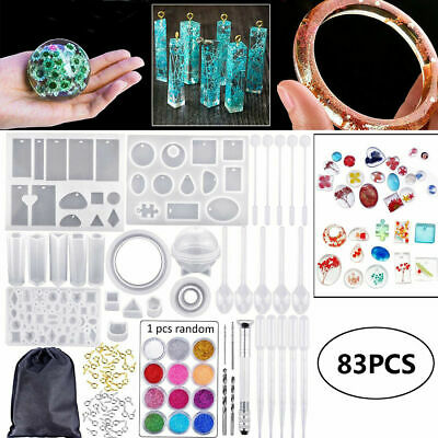 £4.99 • Buy 83PCS Resin Casting Molds Silicone DIY Jewelry Pendant Mould Making Craft Kit