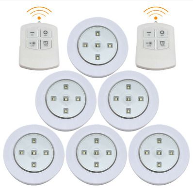 6X Kitchen LED Cabinet Lights Under Cupboard Night Lamp Dimmable Remote Control • 9.35£