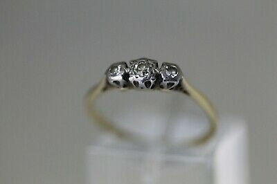 Hallmarked 18 CT Gold And 3 Stone Diamond Ring Size M 1/2. • 115£