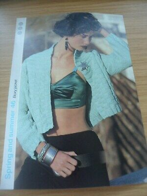 £3.99 • Buy VINTAGE 1980S 1985 KNITTING PATTERN LADIES SUMMER BOXY CROPPED TOP JACKET 36 In
