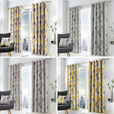 £23.95 • Buy Geometric Eyelet Curtains Lennox Ready Made Lined Ring Top Curtain Pairs