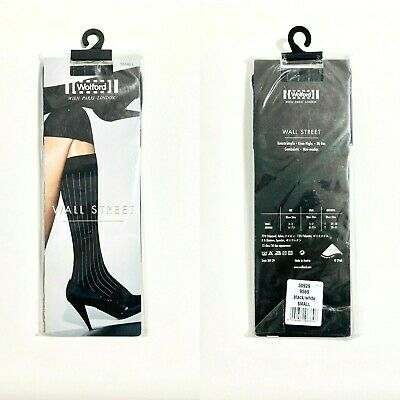 £23.42 • Buy New Wolford Wall Street Pin Stripe Knee Highs Opaque Small Black