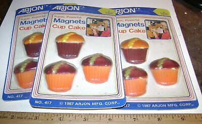 $ CDN15.05 • Buy Lot Of 9 Vintage 1987 CUPCAKE MAGNETS On 3 Cards. Unopened. Dusty.
