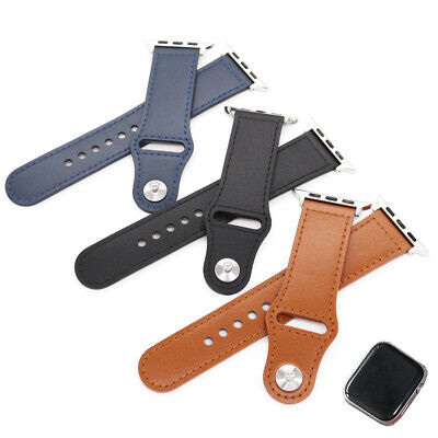 $ CDN16.37 • Buy For Apple Watch Series 5 4 3 2 1 SE Genuine Leather Watch Band Strap Replacement