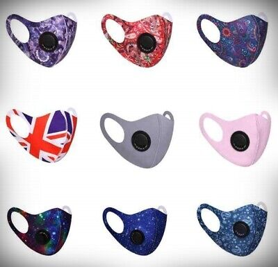 Face Mask Washable Reusable Anti Pollution PM2.5 One/two Air Vent With Filter UK • 2.99£