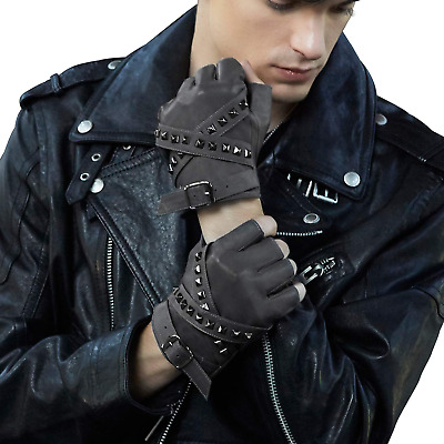 £9.87 • Buy FIORETTO Mens Genuine Leather Fingerless Gloves For Driving Unlined-Gray