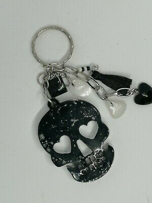 Skull Black Marble Effect   Resin    Keyring • 5£
