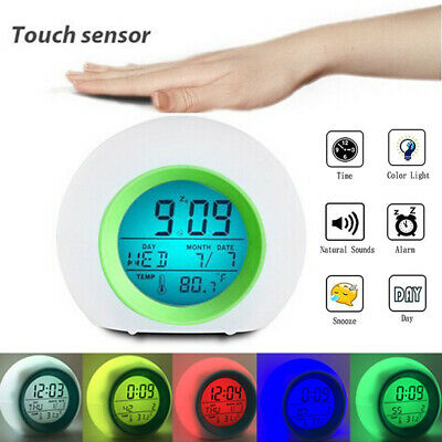 AU17.36 • Buy Table Alarm Clock LED Digital 7 Color Changing Light Night Glowing Kids Children