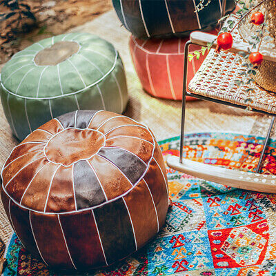Round Moroccan Footstool Leather Pouffe Pouf Cover DIY Ottoman Home Storage • 32.49£