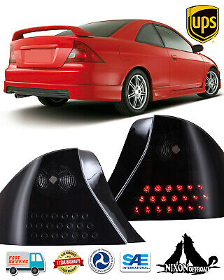 $103.89 • Buy LED Black Smoke Lens Tail Lights Rear Lamps Pair For 2001-2003 Honda Civic Coupe