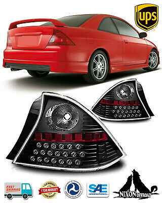 $103.89 • Buy LED Black Clear Lens Tail Lights Rear Lamps Pair For 2001-2003 Honda Civic Coupe