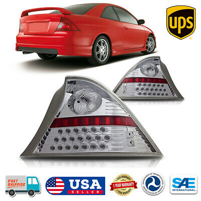 $103.89 • Buy LED Chrome Clear Lens Tail Lights Rear Lamp Pair For 2001-2003 Honda Civic Coupe