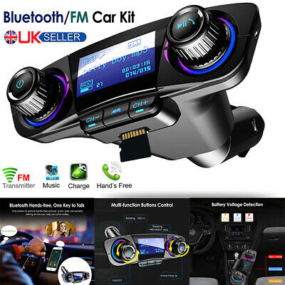 Wireless Bluetooth Handsfree In Car Kit FM Transmitter MP3 USB Charger AUX UK • 16.67£