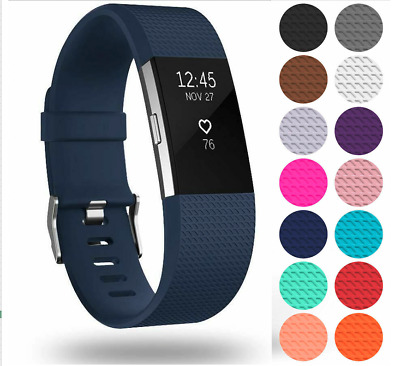 AU4.05 • Buy For Fitbit Charge 2 Strap Silicone Replacement Metal Buckle Watch Wrist Band