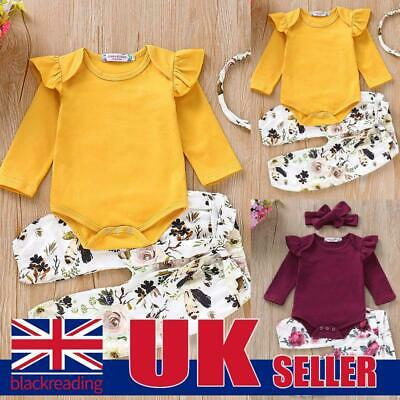 Newborn Baby Girls Clothes Ruffle Romper Tops+Floral Pants+ Headband Set Outfits • 5.99£