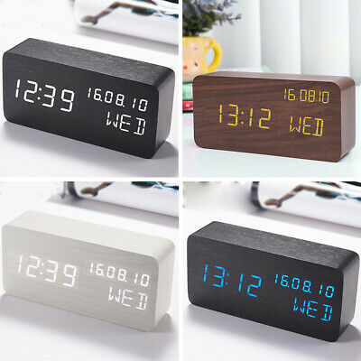Wooden LED Digital Clock Alarm Clock Time Thermometer Calendar USB / Battery UK • 17.15£