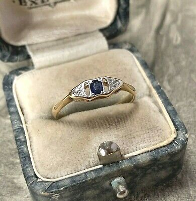Art Deco 18ct Gold Sapphire And Diamond Engagement Ring Size UK N 1/2 • 225£