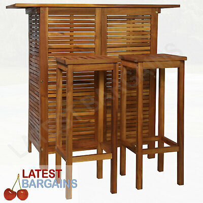 AU336.99 • Buy Outdoor Wooden Bar Table & Chair Stool Set Counter Furniture Timber Storage