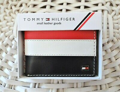 £20.99 • Buy Men's Leather Wallet 'Tommy Hilfiger' Bifold, BLACK,WHITE&RED,Coin Pouch,MRP $60