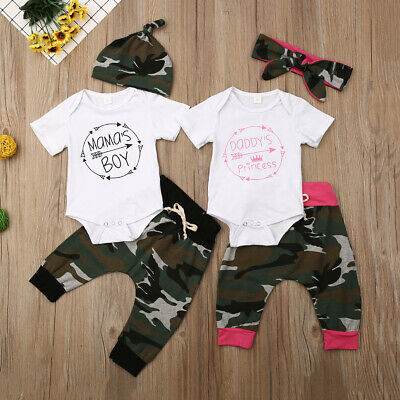 Newborn Toddler Baby Girl Boy Matching Clothes Jumpsuit Romper Pants Outfits Set • 8.75£