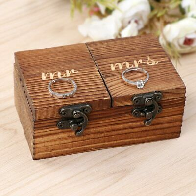 Rustic Vintage Wooden Wedding Ring Bearer Box Engagement Ring Holder Jewelry Box • 6.99£