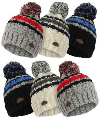 £4.99 • Buy NEW Kids Boys BOBBLE Thermal Insulated Pom Pom Hat Warm Fleece Lined Knitted