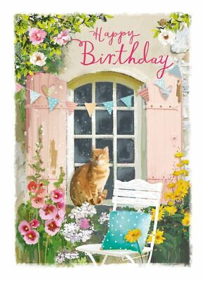Birthday Card - Garden Musings - Ginger Cat - At Home Ling Design Quality NEW • 2.69£