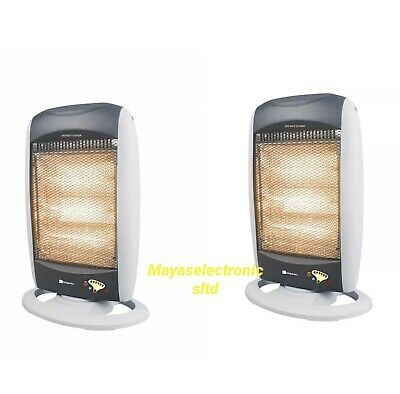 £64.21 • Buy 2X Oscillating 1200W Halogen Heater With Remote Control Electric White Portable