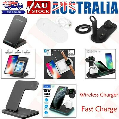 AU15.99 • Buy Wireless Charger Fast Charging Station Stand Dock For Airpods IPhone Apple Watch