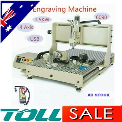 AU2969 • Buy 1.5KW 4-axis 6090 CNC Router Engraver Engraving USB Port Cutting Machine+Control