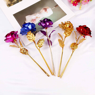 AU10.35 • Buy 24k Gold Plated Golden Rose Flowers Anniversary Valentine's Day Lovers' Gift WH