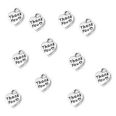 Thank You Charms Heart Pendant Tibetan Silver 12mm Pack Of 20 • 2.80£