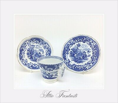 Seaforth Woods Ware Antique Blue & White Pottery Trio - Cup Saucer & Side Plate • 8.95£