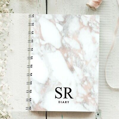 £12.95 • Buy Personalised Diary Marble Plain Font, Rose Gold, Any Month Start, 12 Months